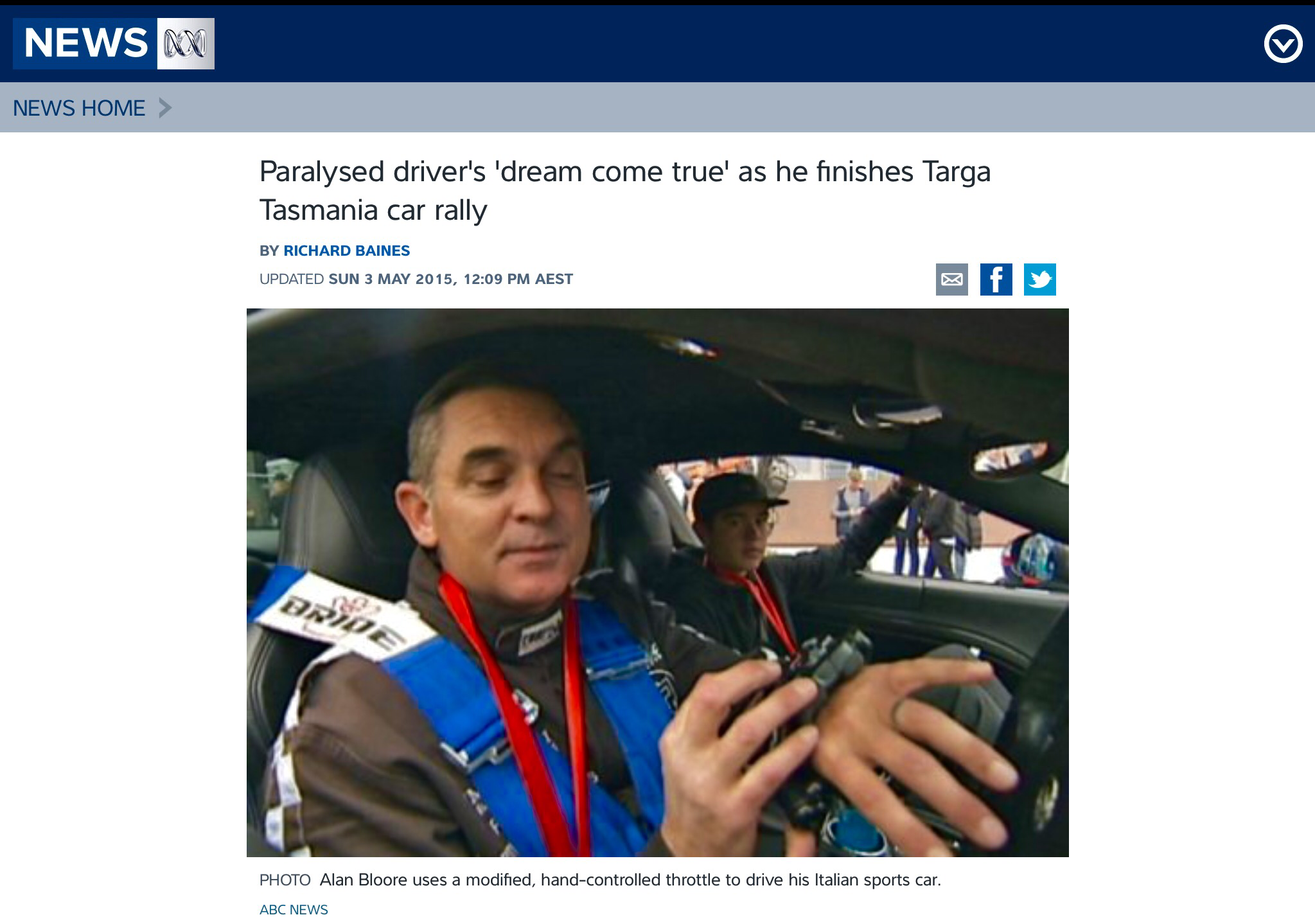 ABC News World First —- 1st time anyone like us has ever finished the Targa :-)))